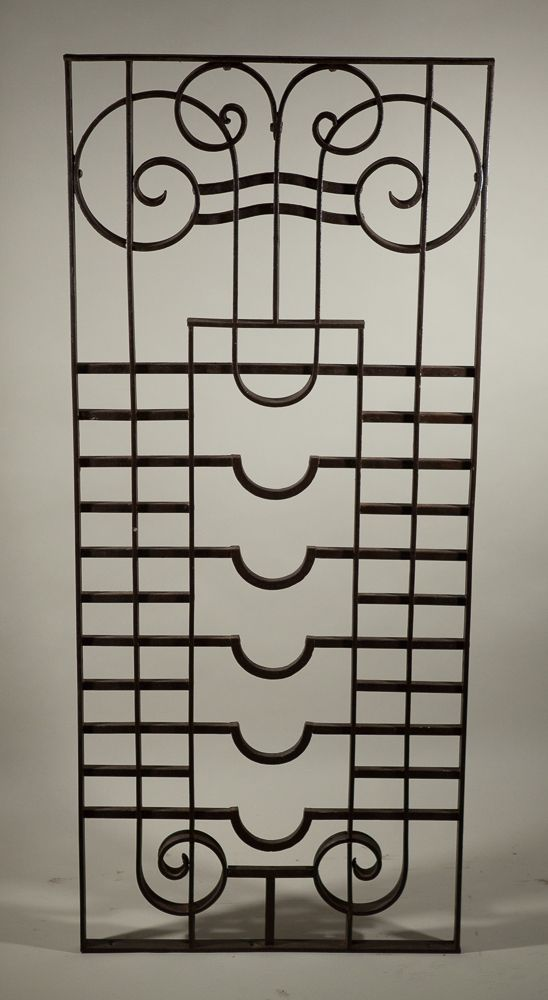 Art deco wrought iron window grill panel fair trade antiques