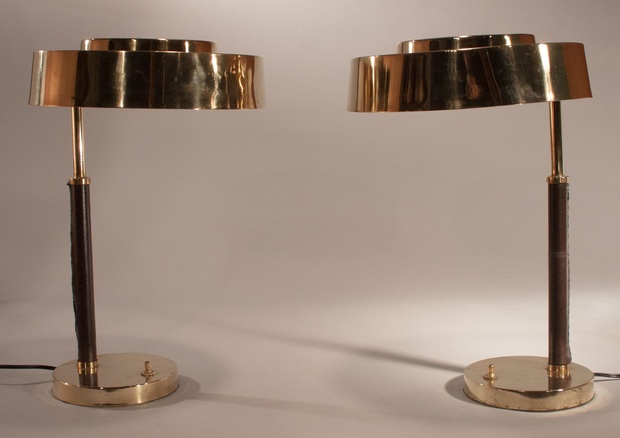 Pair of mid century polished brass and leather table lamps fair pair polished brass and leather table lamps geotapseo Image collections