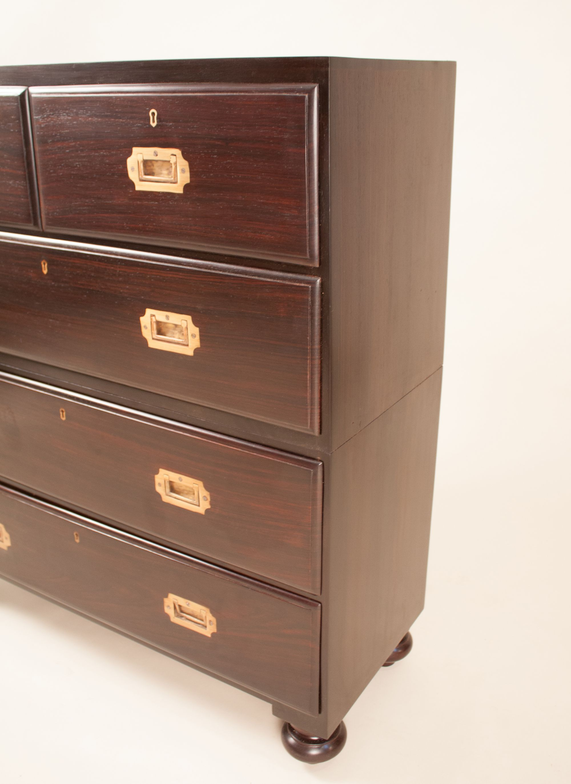 British Colonial Campaign Style Chest Of Drawers In Rosewood