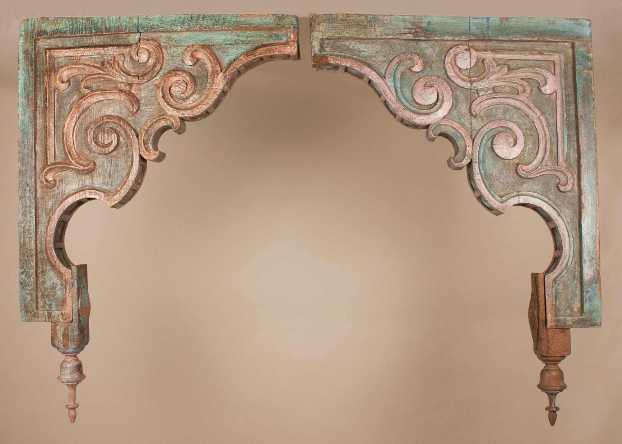 Pair Of Antique Painted Teak Wood Corbels From Gujarat