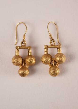22 Karat Gold Tribal Indian Dangle Earrings