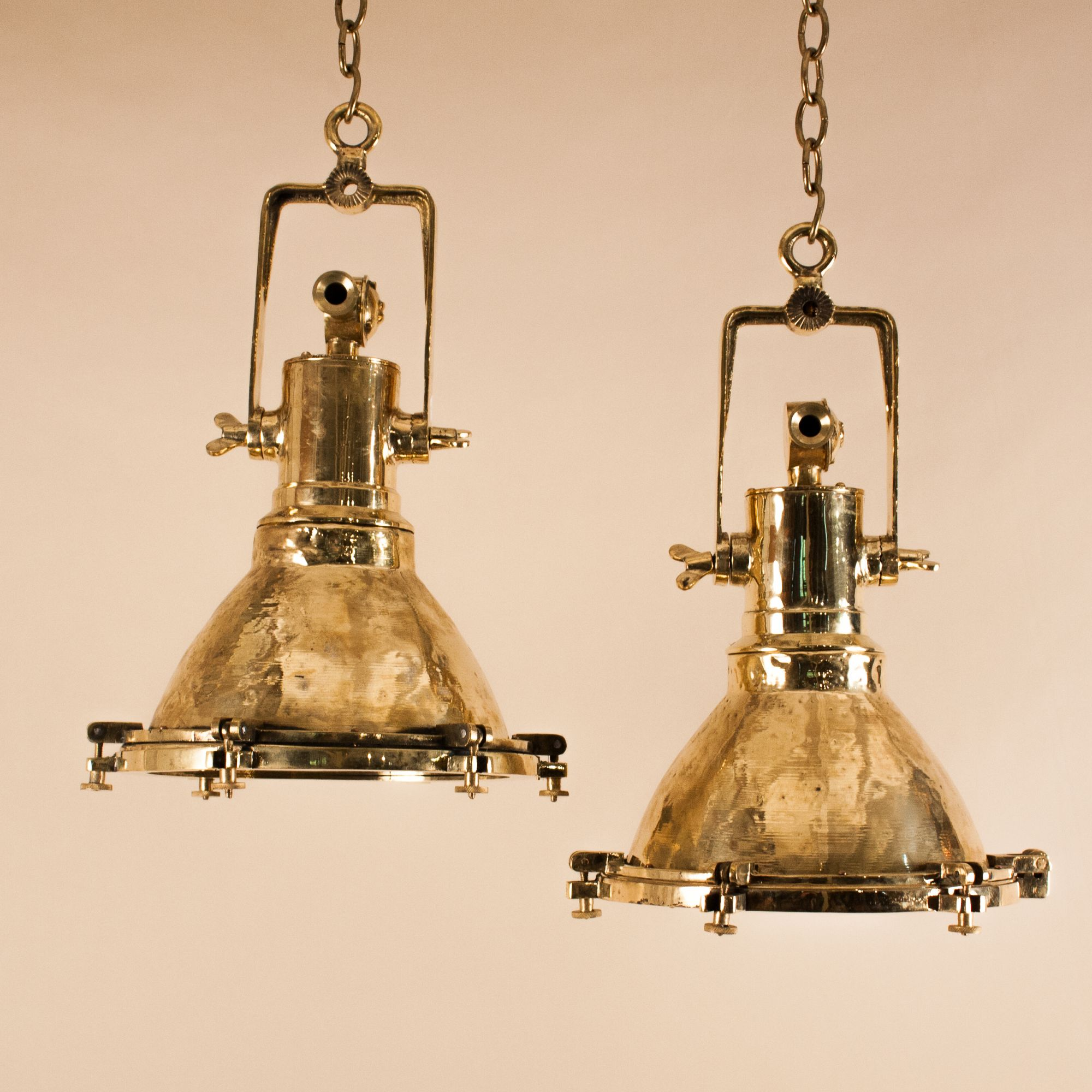 Pair of Mid 20th Century Brass Maritime or Industrial Pendant