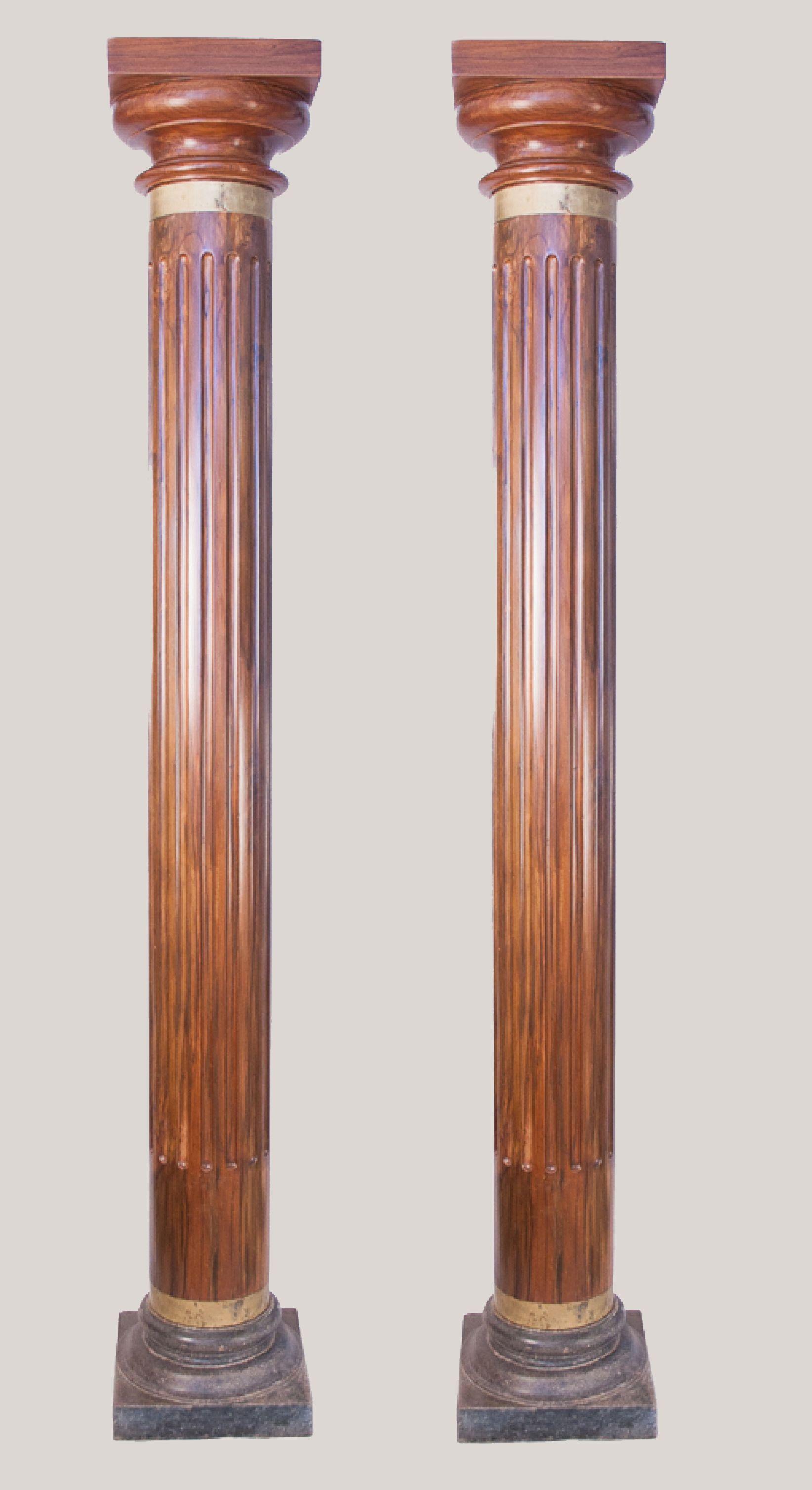 Wood Architectural Columns: Antique Wood Reeded Doric Columns Or Pillars