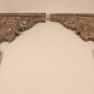 Pair of Antique Painted Teak Wood Corbels