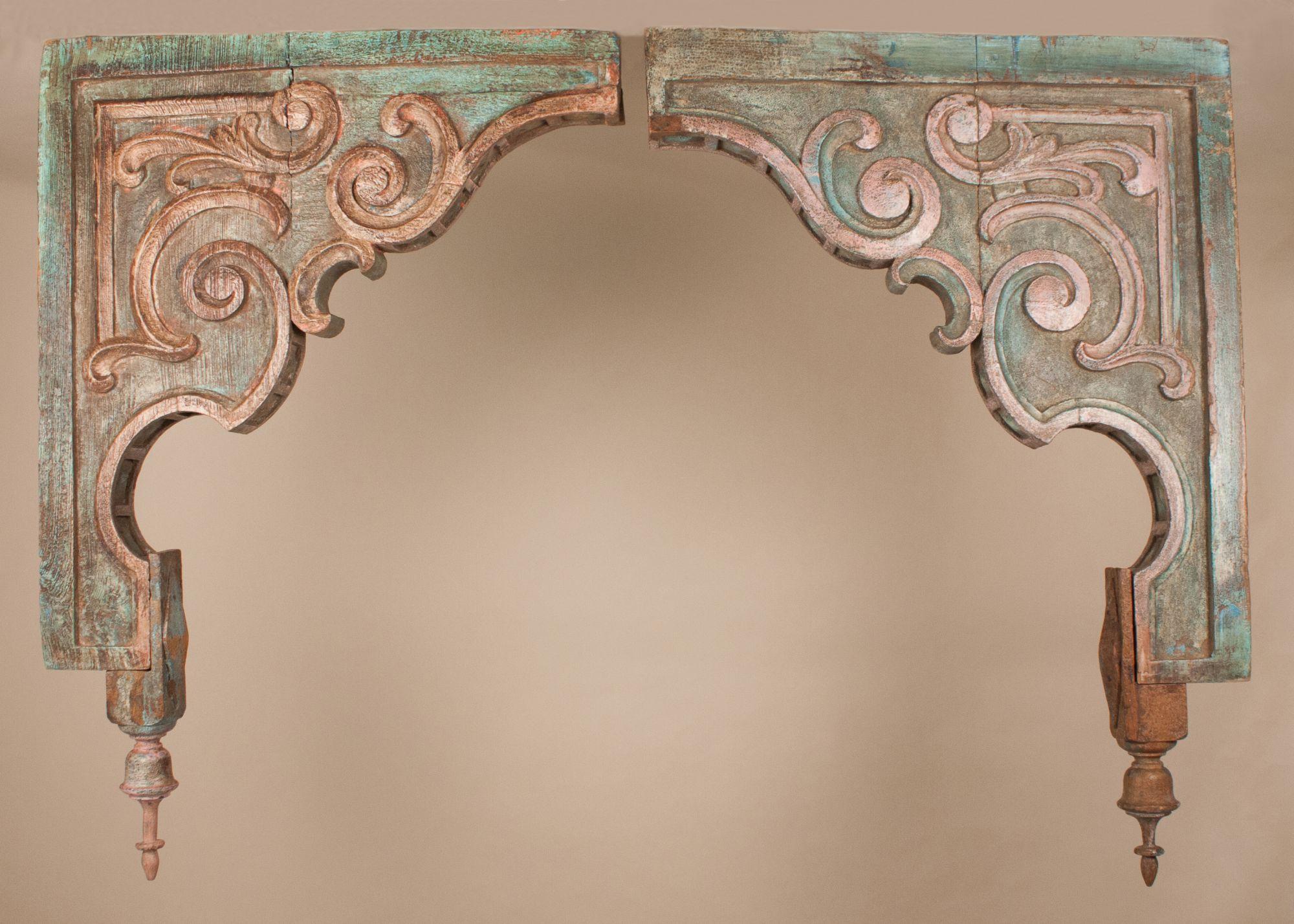 Pair of Antique Painted Teak Wood Corbels from Gujarat ...