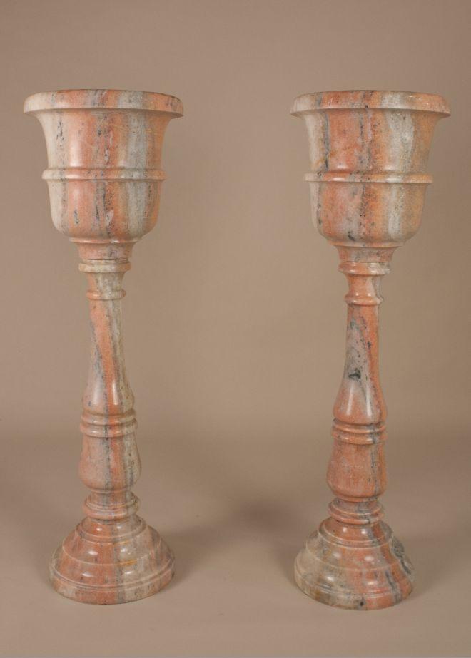 Pair of Marble Standing Jardinieres