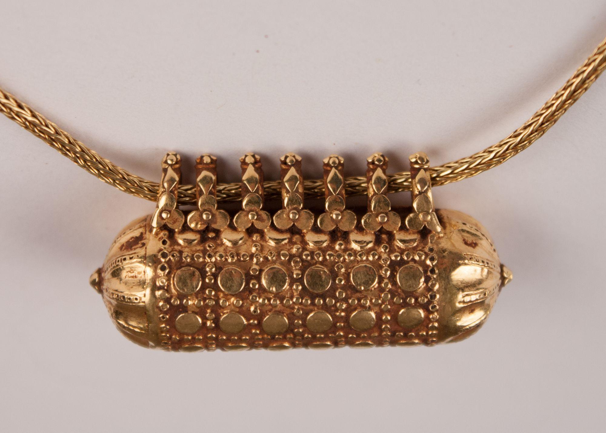 18 Karat Gold Indian Amulet Bead Necklace Fair Trade