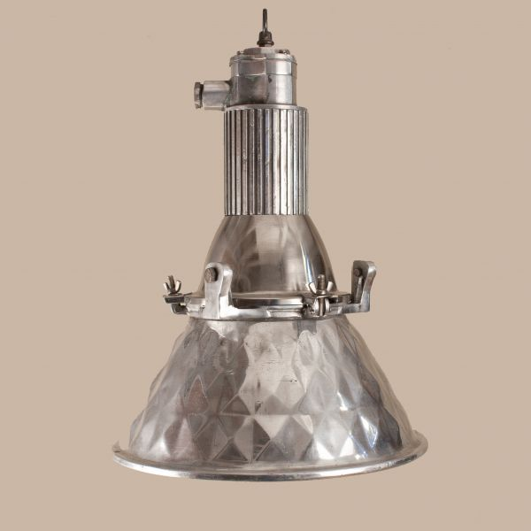 Vintage Industrial Pendant Light In Pressed Aluminum