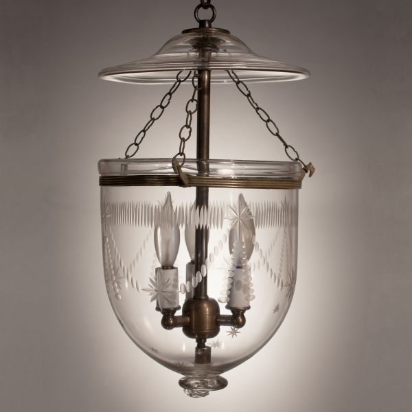 19th Century English Bell Jar Lantern with Federal Etching
