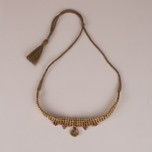 Antique Gold, Crystal and Ruby Choker Necklace from India