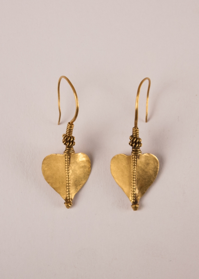 22 Karat Gold Tribal Indian Leaf Earrings