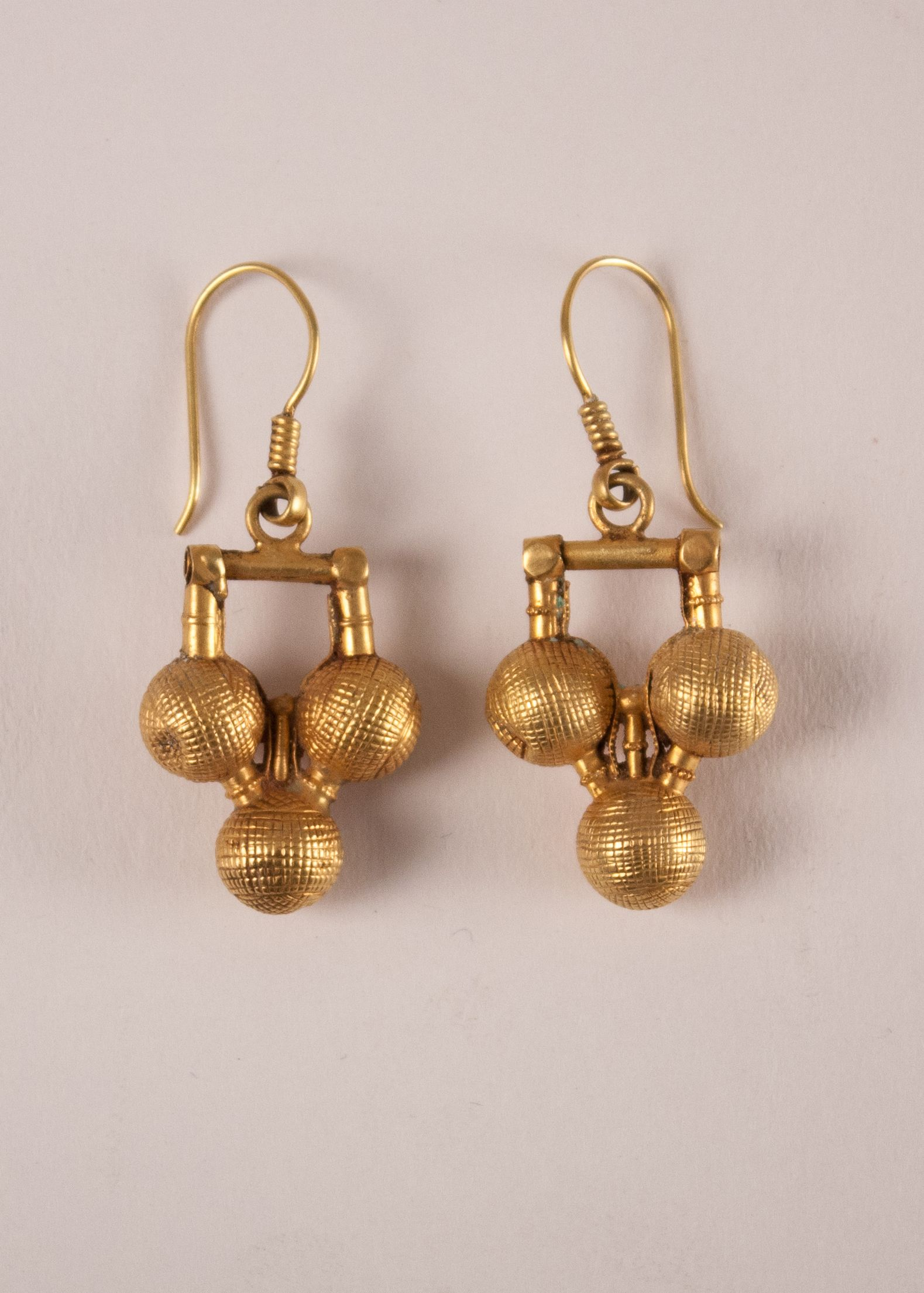 Favorite 22 Karat Gold Tribal Indian Dangle Wire Earrings with Three Balls  QI77