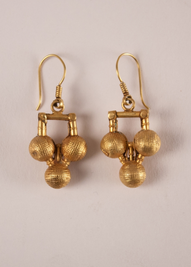 22 Karat Gold Tribal Indian Dangle Earrings