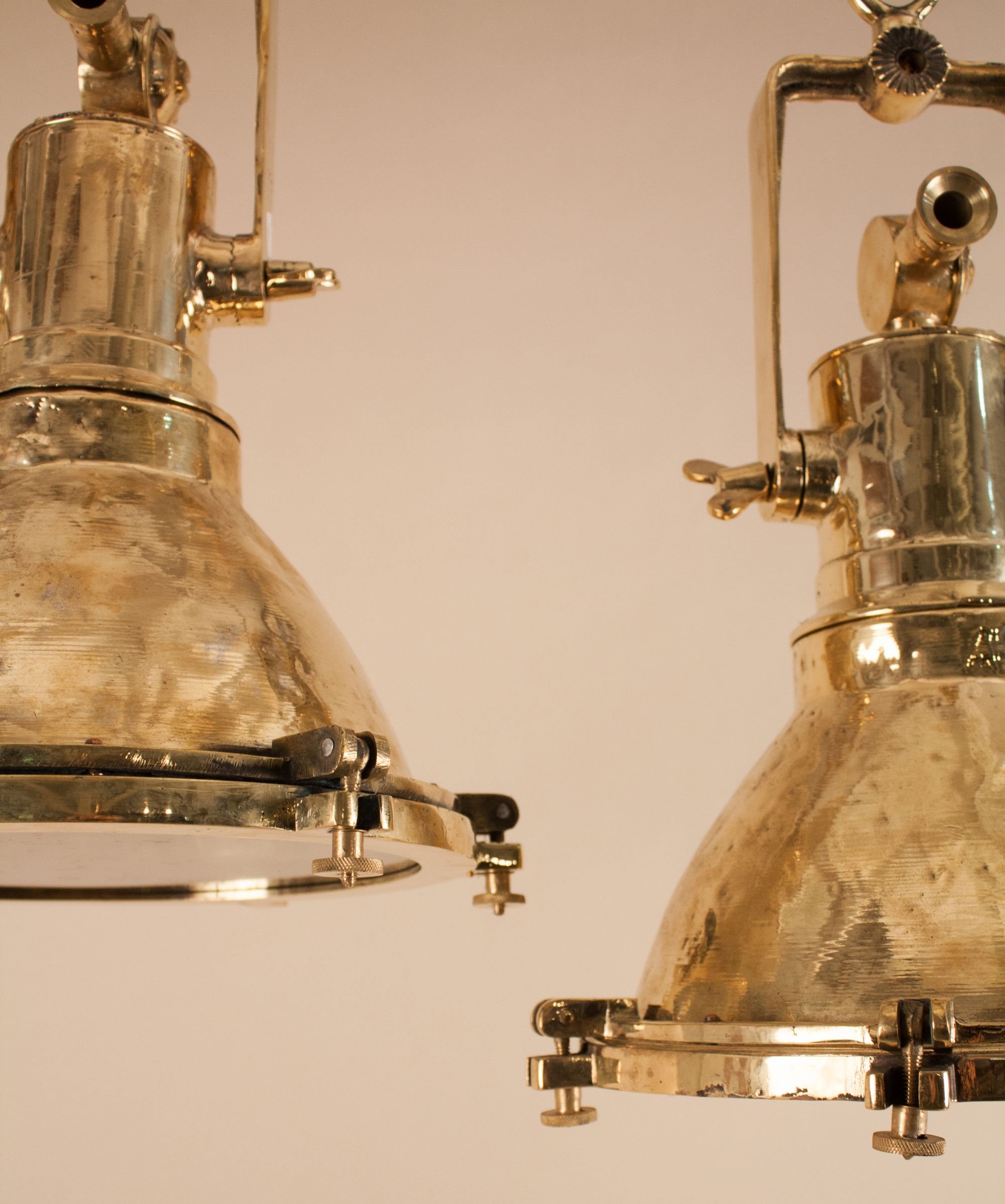 Pair Of Mid 20th Century Brass Maritime Or Industrial