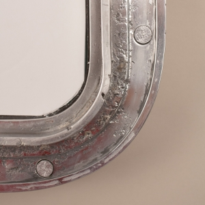 Vintage Nautical Ship's Window Wall Mirror in Aluminum