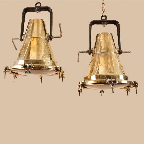 Pair of Mid-Century Brass Ship Deck Lights