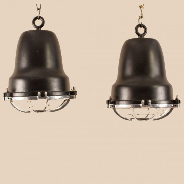 Pair of Vintage Aluminum and Black Nautical Pendant Lights