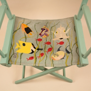 Director's Chair with Embroidered Tropical Fish on Canvas