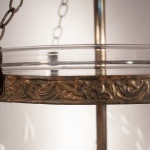 Antique English Bell Jar Lantern with Vine Etching