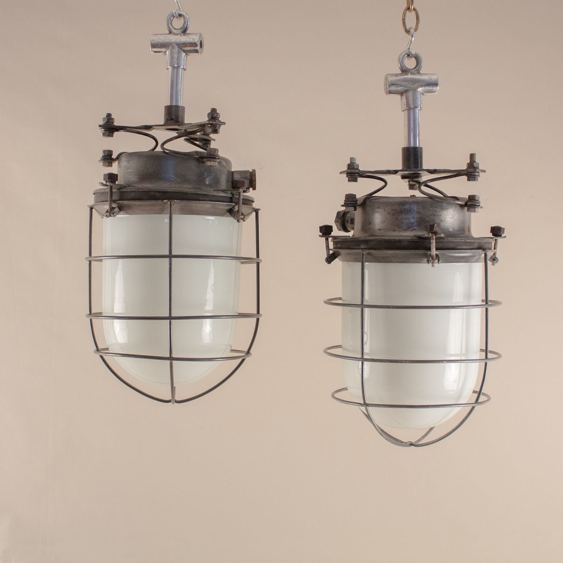 Vintage milk glass and steel caged nautical industrial ships galley pair of nautical milk glass and steel caged pendant lights aloadofball Choice Image
