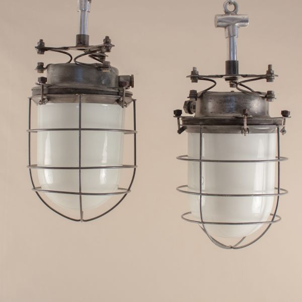 Pair of Nautical Milk Glass and Steel Caged Pendant Lights