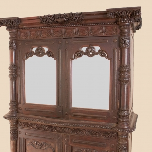 19th Century British Colonial Teak Wood Mirrored Hutch