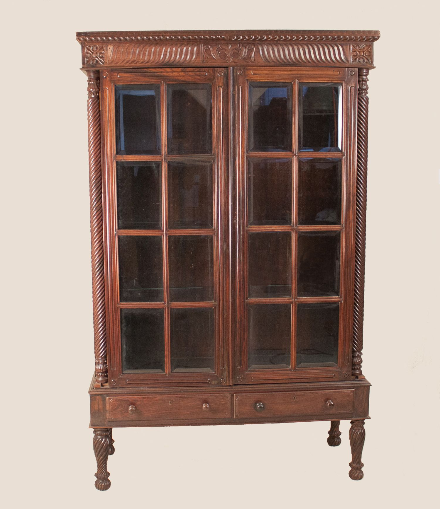 glass form furniture baroquisme british colonial rosewood cabinet with glass doors carved display or book case