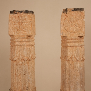 Pair of 19th Century Carved Stone Pillars