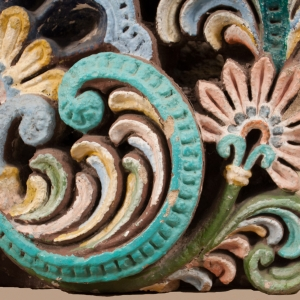 Painted Sandstone Architectural Fragment