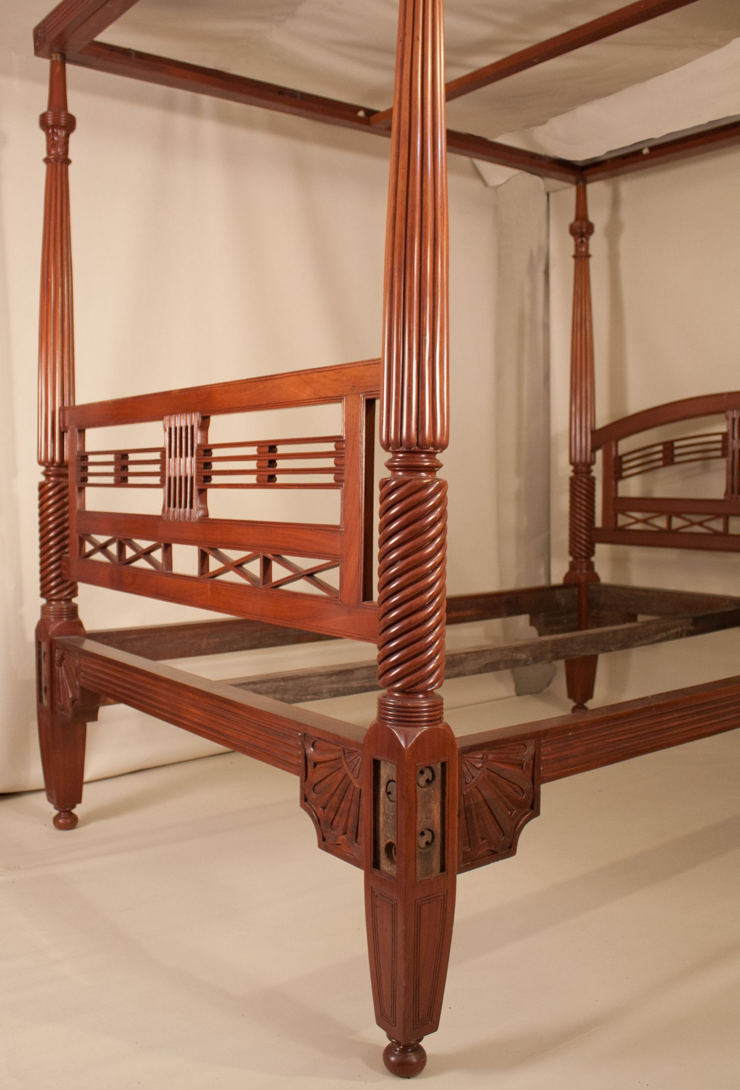 Antique British Colonial Mahogany Four Poster Queen Bed With Tester