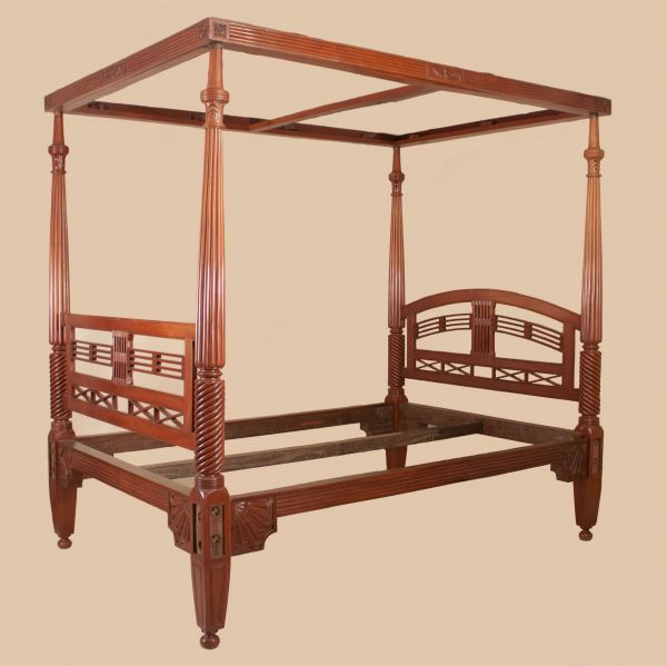 Antique British Colonial Mahogany Four Post Queen Bed