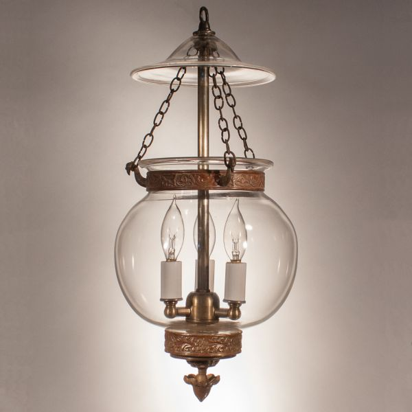 19th Century English Globe Bell Jar Lantern
