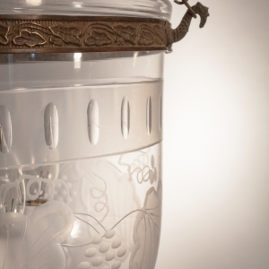 19th Century English Bell Jar Lantern with Frosted Etching