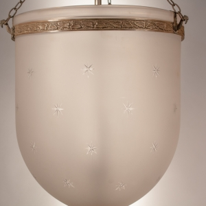 Large 19th Century Frosted Bell Jar Lantern with Star Etching