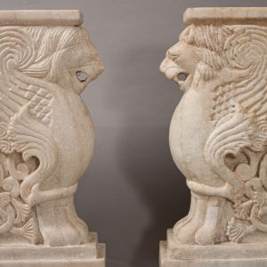 Pair of Marble Lion Bench Supports