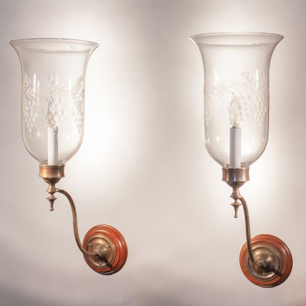 Pair of 19th Century Hurricane Shade Wall Sconces with Grape and Vine Etching