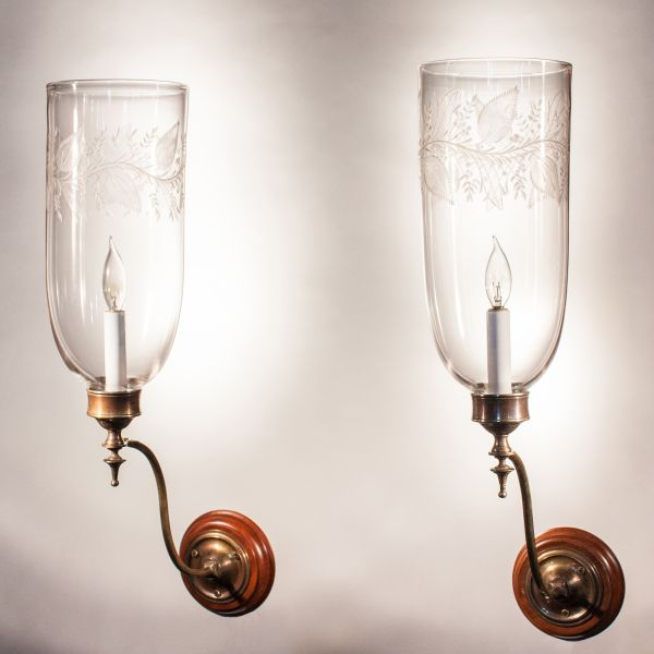 Pair of 19th Century Etched Hurricane Shade Sconces