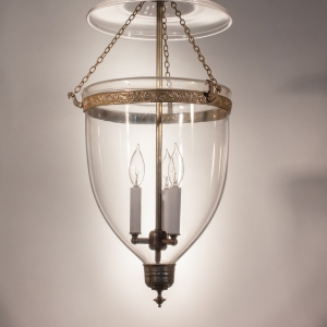 Large English Clear Glass Bell Jar Lantern with Brass Finial