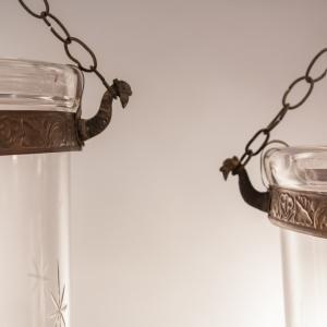 Pair of Large English Bell Jar Lanterns with Star Etching