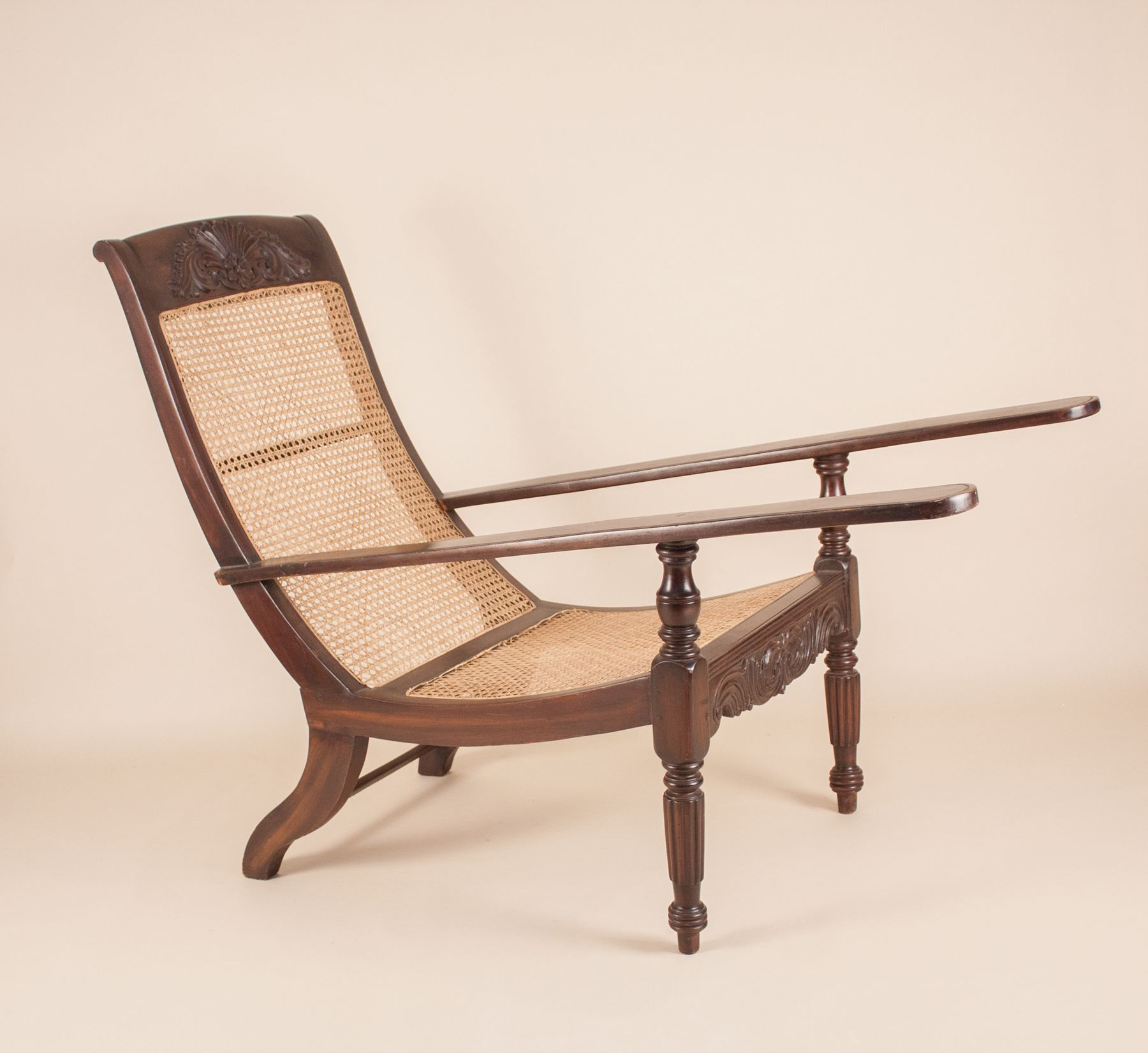 Home / Furniture / Antique British Colonial Plantation Chair & Antique Anglo-Indian Exotic Hardwood Caned Planters Chair or ...