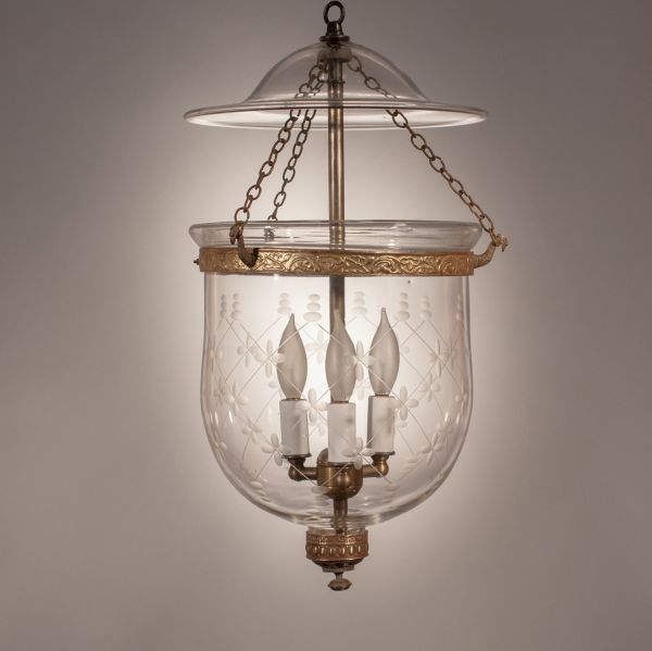 19th Century English Bell Jar Lantern with Trellis Etching