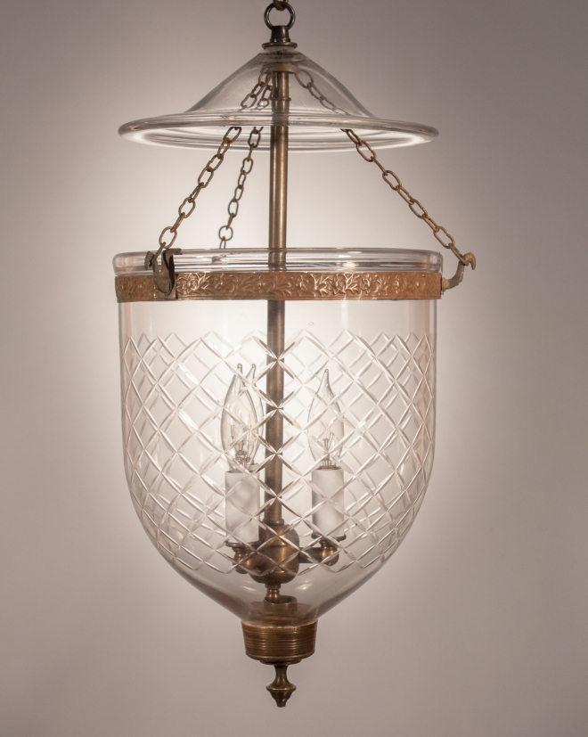 Antique Bell Jar Lantern With Diamond Etching From England