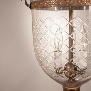19th Century English Bell Jar Lantern with Diamond Etching