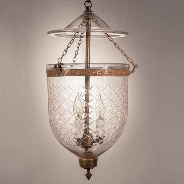 19th Century English Bell Jar Lantern with Diamond Etching