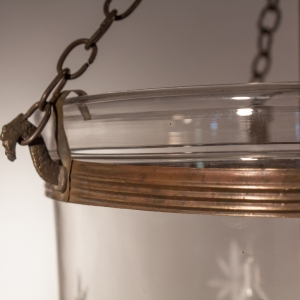 Pair of 19th Century Bell Jar Lanterns with Etched Stars