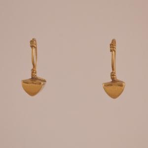 18 Karat Gold Pyramid Earrings