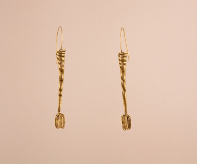 18 Karat Gold Coil Spring Earrings