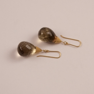 Smoky Topaz and 18 Karat Gold Drop Earrings