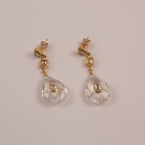 Faceted Crystal, Diamond and Gold Dangle Earrings