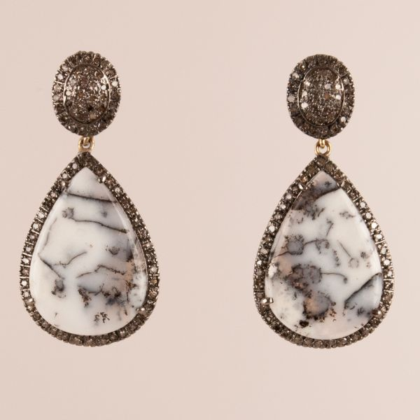Moss Agate and Diamond Drop Earrings